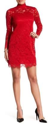 Sharagano Long Sleeve Lace Sheath Dress (Petite)