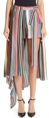 Monse Stripe Silk Shorts with Overskirt