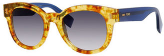 Fendi Rounded Contrast-Arm Sunglasses $365 thestylecure.com