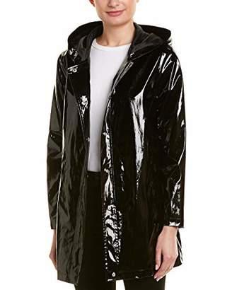 Urban Republic Women's Patent Leather Long Vinyl Jacket W/tapin
