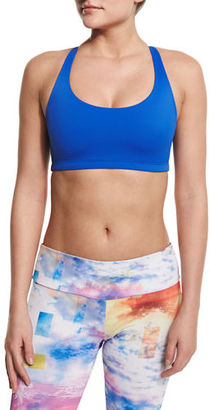 Onzie Chic Strappy-Back Sports Bra, Deep Royal $48 thestylecure.com