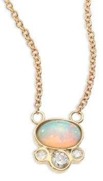 Jacquie Aiche Diamond, White Opal& 14K Yellow Gold Pendant Necklace
