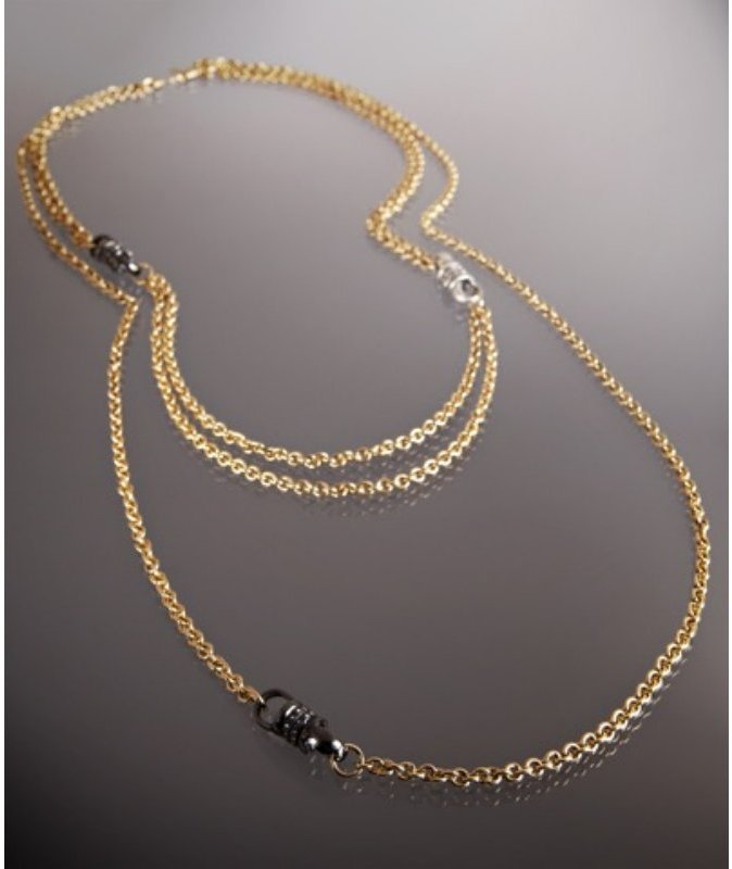 Paige Novick gold and CZ rondelle 'Kate' multi chain necklace