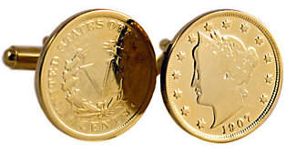 American Coin Treasures Gold-Layered Liberty Nickel Cuff Links