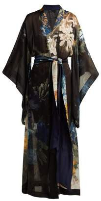 Carine Gilson Floral Print Silk Georgette Kimono - Womens - Navy Multi