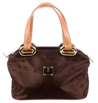MCM Leather-Trimmed Visetos Handle Bag