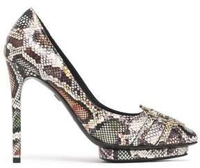 Roberto Cavalli Embellished Snake-Effect Leather Platform Pumps