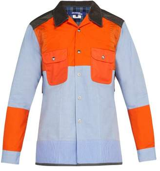 Junya Watanabe Panelled Cotton And Nylon Shirt - Mens - Orange