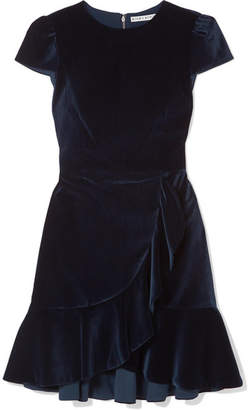 Alice + Olivia Alice Olivia - Enid Ruffled Velvet Mini Dress - Navy