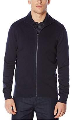 Perry Ellis Men's Rib Texture Full Zip Sweater