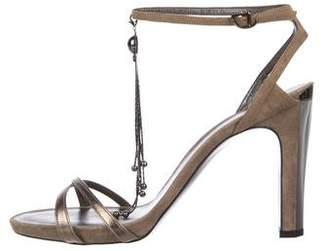 Giorgio Armani Suede Embellished Sandals