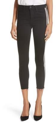 L'Agence Margot Embellished Side Stripe Crop Skinny Jeans