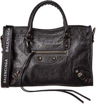 Balenciaga Classic City Logo Strap Leather Shoulder Bag