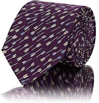Lanvin Men's Arrow-Print Silk Satin Necktie - Purple