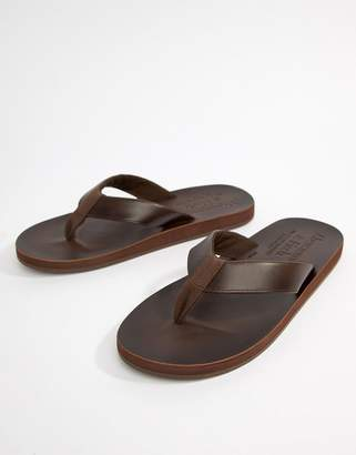 Abercrombie & Fitch Leather Flip Flops in Brown
