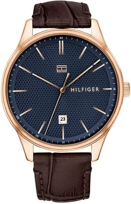 Tommy Hilfiger Rose Gold Dress Watch With Leather Strap