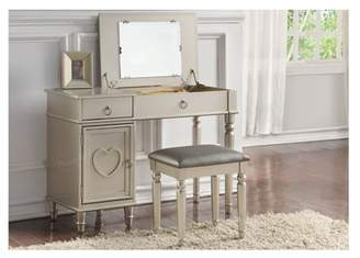 Simple Relax Poundex F4177 Bobkona Alice Flip up Mirror Vanity Set, Black
