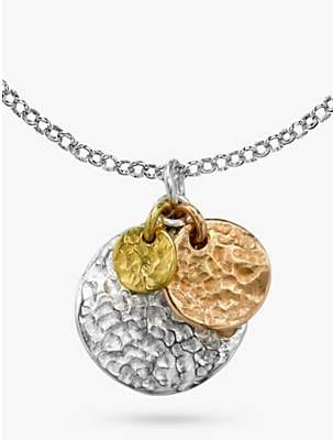 Dower & Hall 18ct Sterling Silver & Gold Vermeil Hammered Triple Disc Nomad Pendant, Multi
