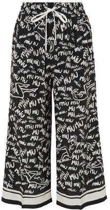 Miu Miu Cropped Printed Silk Crepe De Chine Wide-leg Pants - Black