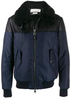 Alexander McQueen leather panel aviator jacket