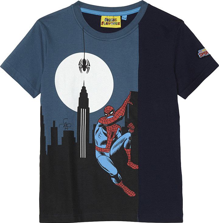 Fabric Flavours Spiderman glow-in-the-dark cotton t-shirt 3-10 years