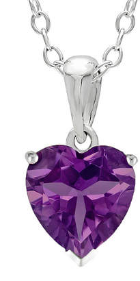 JCPenney FINE JEWELRY Heart-Shaped Genuine Amethyst Sterling Silver Pendant Necklace