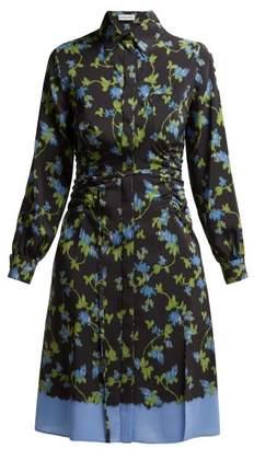 Altuzarra Strada Dip Dye Ruched Silk Dress - Womens - Black Multi