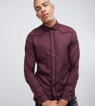 Asos Design Tall Regular Fit Western Viscose Shirt In Burgundy