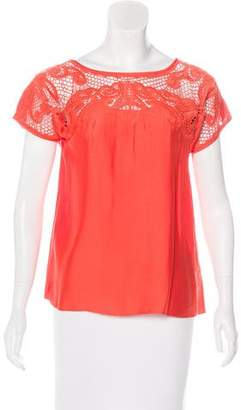 Tibi Embroidered Short Sleeve Blouse