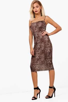 boohoo Tabitha Leopard Print Square Neck Midi Dress