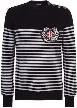 Balmain Embellished Metallic Striped Sweater