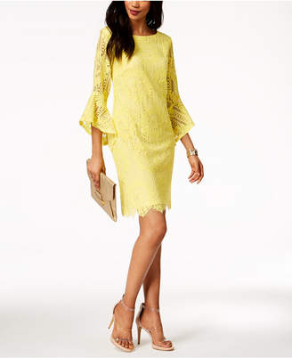 Sangria Bell-Sleeve Lace Sheath Dress