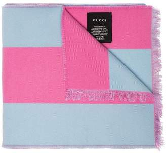 Gucci pink stripe Guccy embroidered wool silk-blend scarf