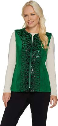 Bob Mackie Bob Mackie's Sequin and Embroidered Fleece Vest