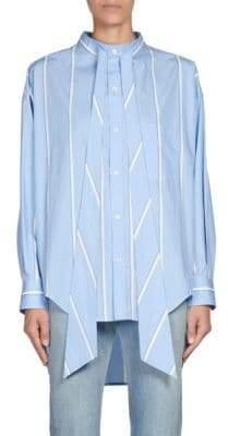 Balenciaga Stripe Hi-Lo Poplin Shirt