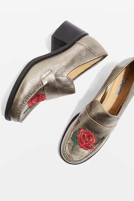 Topshop KRAYON Embroidered Loafers