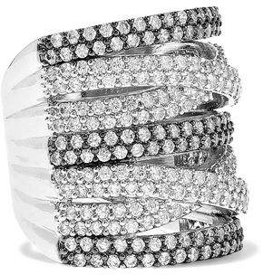 Kenneth Jay Lane Cz By Rhodium-plated Crystal Ring