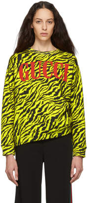 Gucci Black and Yellow Oversize Zebra Sweatshirt