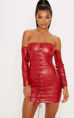 PrettyLittleThing Red Faux Leather Bardot Lace Up Bodycon Dress