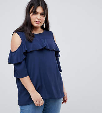 64abdfbe0c571 Lovedrobe Cold Shoulder With Ruffle Detail Blouse