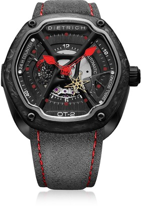 Dietrich OT-2 316L Steel And Forged Carbon Men's Watch w/Red Luminova and Gray Suede Strap
