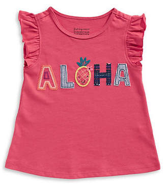 First Impressions Girl's Aloha Ruffled Cotton Top