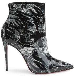Christian Louboutin So Kate 100 Printed Patent Leather Booties