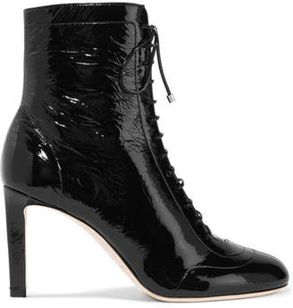 Daize Lace-up Patent-leather Boots - Black