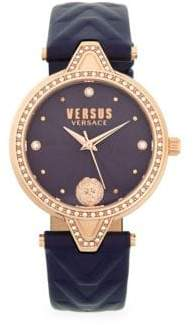 Versace Stainless Steel, Swarovski Crystal & Leather-Strap Watch