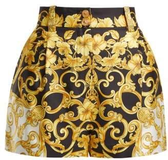 Versace Hibiscus Silk Shorts - Womens - Gold Multi