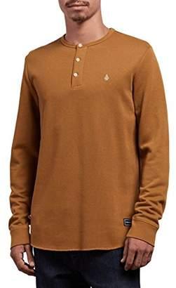 Volcom Men's Layer Stone Long Sleeve Modern Knit Henley Shirt