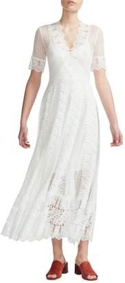 Maje Lace Cotton-Blend Midi Dress