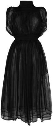 Comme des Garcons (コム デ ギャルソン) - Comme Des Garçons Noir Kei Ninomiya sheer gathered long dress