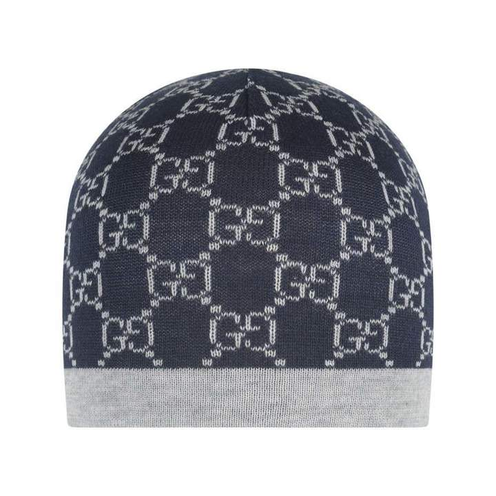GUCCINavy & Grey Wool Hat